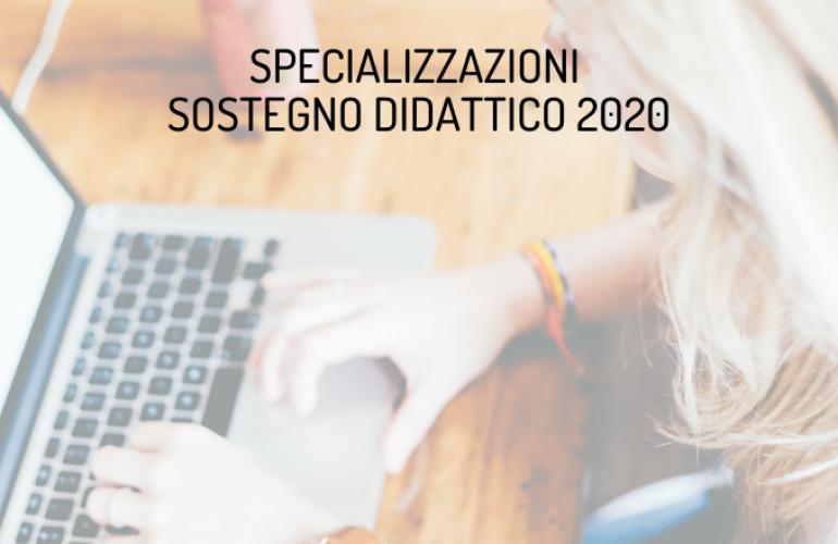 Specializzazioni in Sostegno Didattico 2020: conclusione del percorso online